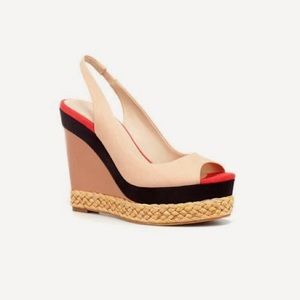 Zara Colorblock Suede/Leather Slingback Wedges